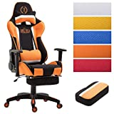CLP Bürostuhl Jerez mit Stoffbezug, Max. belastbar bis 136 kg, Gaming Stuhl mit/Ohne Fußablage, Chefsessel mit Wippmechanismus, Höhenverstellbar, Schwarz/Orange, mit Fußablage
