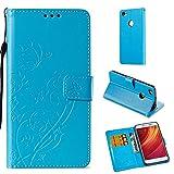 Slynmax Housse Etui Coque Xiaomi Redmi Note 5A Bleu,Coque Xiaomi Redmi Note 5A Un Stylo Tactile Housse en PU Cuir Portefeuille à Béquille Complète Fente Exquis Papillon de pour Xiaomi Redmi Note 5A
