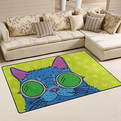 yibaihe, leicht, bedruckt mit Deko-Teppich, Teppich, modern Cartoon Katze mit Brille wasserabweisend stoßfest. Für Wohn- und Schlafzimmer 80x 51cm