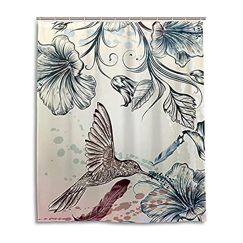 baihuishop Blume Vintage Kolibris Muster Badezimmer Duschvorhang 152,4x 182,9cm mit 12Haken Schimmelfest Polyester Stoff