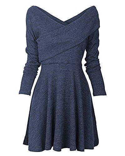 Minetom Damen Pullover Kleider Winterkleider Kleid Strickkleider Langarm  Mode Stricksweat Strickpullover Lose Sweatkleid Minikleid Blau DE 42 bd5aa2e335
