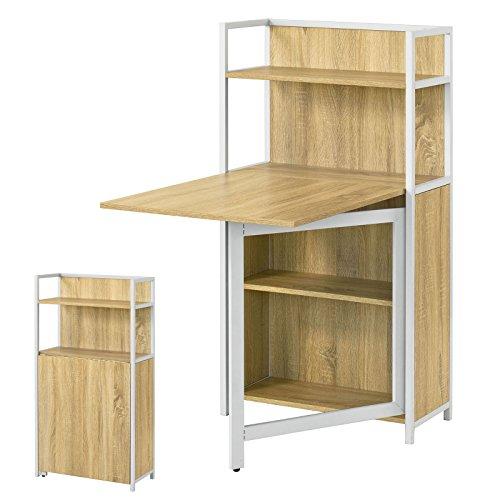 SoBuy® Wandschrank, Wandklapptisch, Standregal, Bücherschrank, mit klappbarem Schreibtisch, Computertisch, FWT12-N