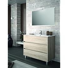Conjunto de Mueble de Baño ARENAS - 100cm - Roble Caledonia. Con Lavabo, Espejo y Aplique Led.