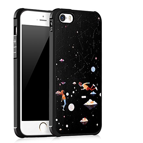 """Gukas Design Housse Coque TPU Silicone Case Etui Cover Pour Apple iPhone 5G 5S 5SE 4"""" Gel Ultra Slim Soft Bumper Protective Rubber Shock Absorber Flexible (LoveBuckle) Starry Sky"""