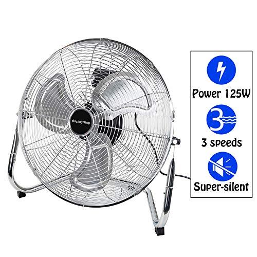 Display4top 45cm Argento 3 Velocità Ventilatore da Pavimento ideale per palestre, case, uffici o magazzini e uso industriale,125W