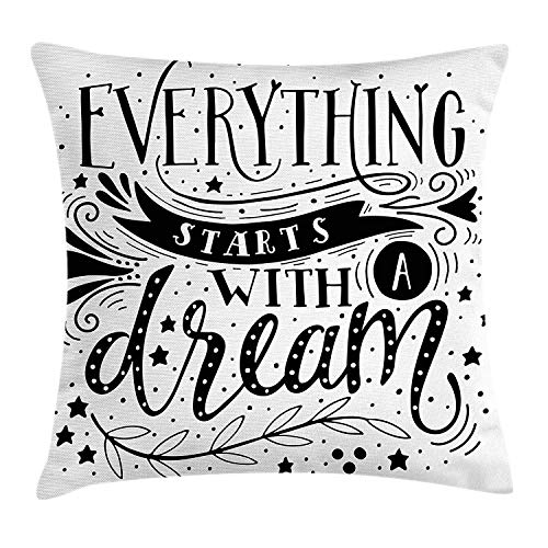 FAFANI Black and White Throw Pillow Cushion Cover by, Everything Starts with a Dream Quote Monochrome Stars Leaves and Curls, Decorative Square Accent Pillow Case, 18 X 18 Inches, Black and White (Bar Cap Curl)