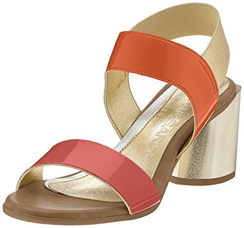 NR RAPISARDI Damen Wizzy Slingback Sandalen, Orange (Orange/Gold Ecopatent), 41 EU