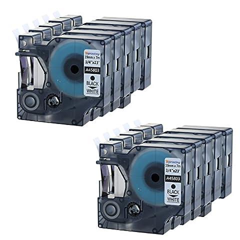 10 Schriftband für Dymo D1 45803 Schwarz auf Weiß 19mm x 7m LabelManager LabelPoint LabelWriter