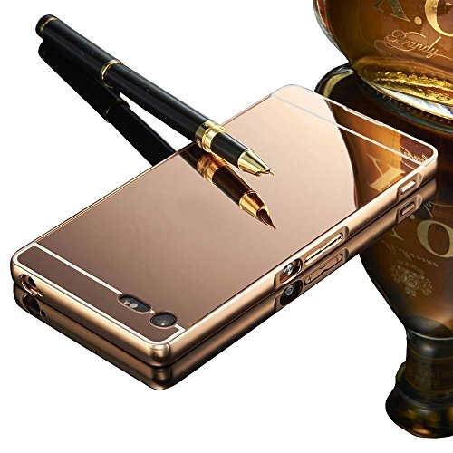 Xperia X Compact Case,Vandot Luxury Aluminum Metal Bumper Frame+Mirror Reflective Effect Acrylic Hard Back Shell Snap-on Practical Protective Cell Phone Case Cover for Sony Xperia X Compact (Rose Gold) Test