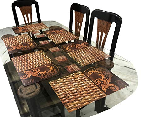 LaVichitra Long Lasting Wooden Style Dining Table Placemats Set of 6 with 6 Pc Coaster, 45x30 cms