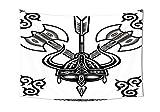 iPrint Wikinger-Design, mit Horn-Axt, Antik, keltischer Stil, Kultur, Kunstdruck, für Schlafzimmer, Wohnzimmer, Deko, Schwarz/Weiß, Textil, 90.5W By 59L Inch