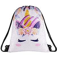 Segorts Sequin Drawstring Bag Backpack Mermaid Gym Dance Bags Magic Reversible Glitter Bag Unicorn Gift for Girls Daughter Boy Flip Sequin Bag Birthday Gift for Kids Teen