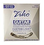 #8: Dhingra Musicals - Ziko Silver Plating Custom Light Acoustic Guitar strings DUS-011(6 Strings)