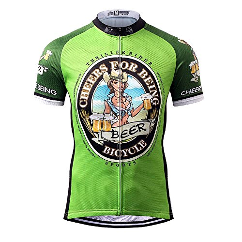 Thriller Rider Sports® Hombre Cheers for Being Green Thriller Rider Sports® Hombre Deportes y Aire Libre Maillot Manga Corta de Ciclismo 3X-Large