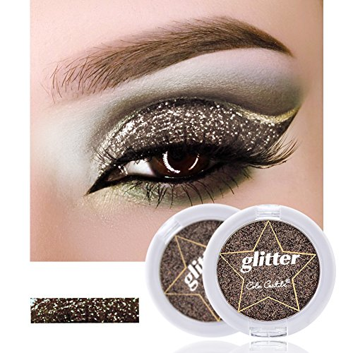 Shadow Cosmetics Pigment Powder Natürliche Pearl Metallic Glitzernd Lidschatten-Palette (Schwarz) (Silber Metallisch Creme Make Up)