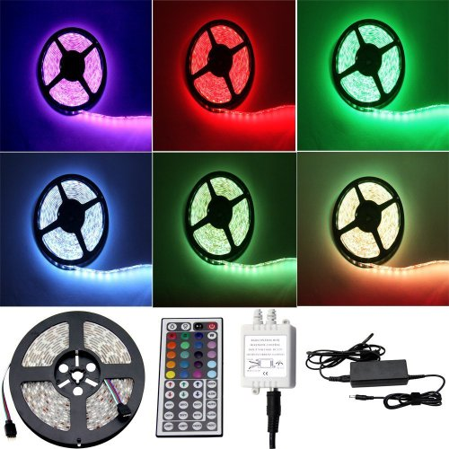 ALED LIGHT® Striscia LED 5M RGB 150 LED 5050 SMD LED Strip Con DC 12V Alimentatore+ 44 Tasti Telecomando+ Ricevitore+ Istruzioni.(RGB)