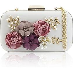 J&F Sac de Soirée Féminin Wallet Sac à Main Fleur Portefeuille de Perles Handbag Pochette