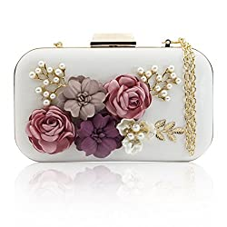 J&F Women Clutches Purses Bags Flower Leather Envelope Pearl Wallet Evening Handbag