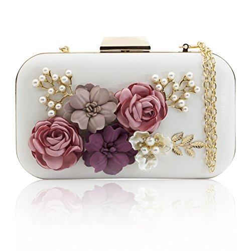 J&F Damen Tasche Handtasche Party Clutch Bag Hochzeit Abend Kettentasche Umhängetaschen (Blume Clutch Perlen Satin)