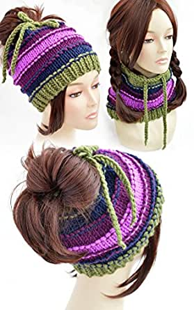 Ponytail Hat Pattern Knitting Pattern Ponytail Beanie Pattern Womens
