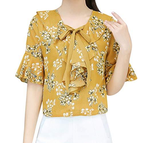 MOTOCO Damen Shirt Flower Point Print Lose Kurzarm Trompete Ärmel V-Ausschnitt Fliege Polo Shirt OfficeDamen Shirt Top(XL(38),Khaki)