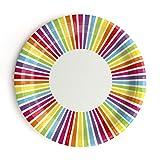 InviteMe 10 Fröhlich Bunte Papp-Teller mit Regenbogen-Streifen