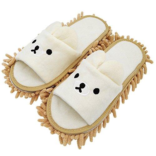 Selric Abnehmbar Mopp Pantoffeln Bild Bär Kamel, Hausschuhe mit Wischmopp,Bequeme Hausschuhe Zum zeitsparenden Bodenputzen [18cm Kinder Größe] Bar Mop