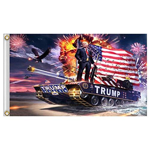Vektenxi Premium-Qualität Trump Tank Flag Digitaldruck Banner Trump Big Hanging Trump Flag
