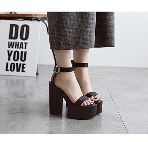 GTVERNH-8.5cm scarpe nere hentian alte scarpe tacco alto sandali estate super club con scarpe con suola spessa spessa,39 Thirty-seven