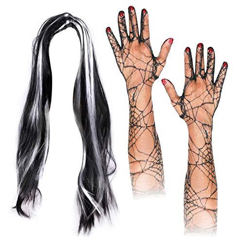 Lang Schwarz/Grau Halloween Hexen Perücke mit Spider Spitze Ellenbogen Länge Handschuhe