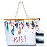 Happy Pig Trendige Canvas Strandtasche, Damen Canvas Schultertasche Tasche, Große Strand Segeltuch Reise Handtasche mit Reißverschluss für Reise, Kaufen, Ausflug usw, Urlaub(3)