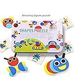 Gioco Tangram Kids, Blocchi di Legno Classico educativo Giocattoli, Tangram per Bambini con 34 Pezzi di Forma Geometrica e 60 Carte