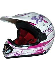 Protectwear V310-Girl-XS Kindercrosshelm für Mädchen Max Racing, Größe XS, Rosa/Weiß Glanz