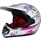 Protectwear Casque de motocross pour enfants / filles, MaX Racing, Rose Bonbon blanc brillant, V310f(ille), Taille: XS / Youth L (53/54 cm)