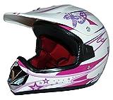 protectWEAR V310-Girl-S Kindercrosshelm für Mädchen Max Racing, Größe S (Youth XL), Rosa/Weiß Glanz