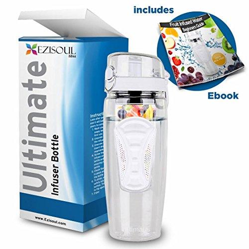 Grande bouteille infuseur à fruits 950 ml - sans BPA - Étanche, Couvercle à clapet