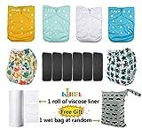 LilBit LBT-UK Baby Windelhöschen, 6er-Pack, waschbar, wiederverwendbar, verstellbar, Pocketwindeln, mit fünflagigen Bambuskohle-Einlagen