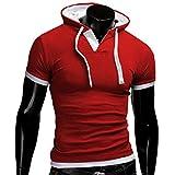 Bluestercool Casual T-shirt à manches courtes plusieurs couleurs (TagXXXXXL=EU XXXXL, Rouge)