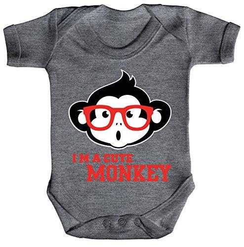 mpler Bio Baumwoll Baby Body kurzarm Jungen Mädchen Cute Monkey, Größe: 12 - 18 Monate,Heather Grey Melange (Niedliche Nerds)