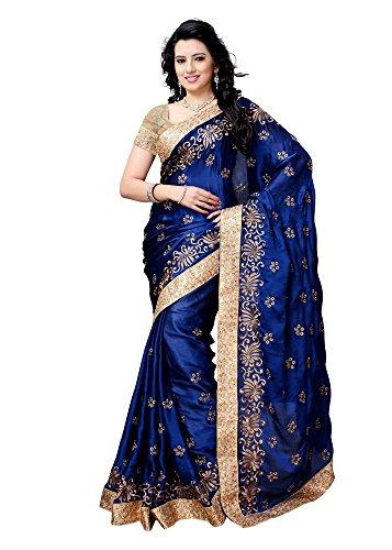Shailaja Sarees Women's Satin Saree(SSS1125A_Blue_Free Size)