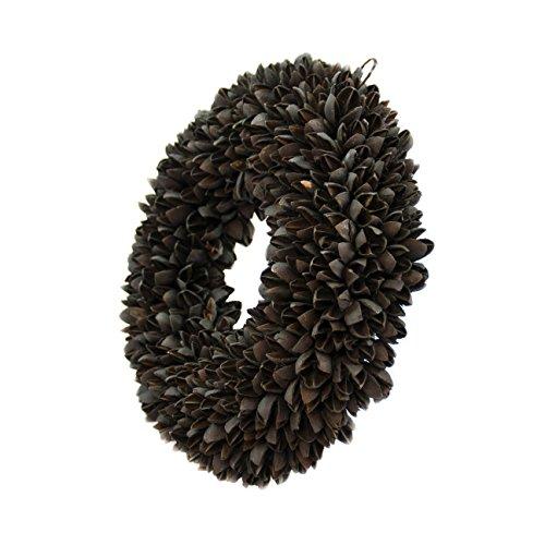 Naturkranz Deko-Kranz groß Ø 35cm in schwarz, gefertigt aus Bakuli-Früchten. Türkranz zum hängen oder als Tischdekoration im Shabby chic Design, zeitloses Wohnaccessoires als Natur-Deco von Glaskönig