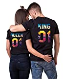 King Queen T-Shirt Set für Paar Tropic Urlaub Auflage Partner-Look Pärchen Tshirt für Couple Geschenke (Schwarz, King-XL + Queen-M)