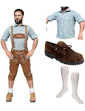 Herren Trachten E Set 5-teilig Trachten Lederhose HELLBRAUN 46-60 Trachtenhemd Schuhe Socken Oktoberfest