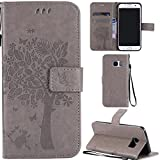 Ooboom® Samsung Galaxy S7 Edge Case Cat Tree Pattern PU Leather Flip Cover Wallet Stand with Card/Cash Slots Packet Wrist Strap Magnetic Clasp for Samsung Galaxy S7 Edge - Gray