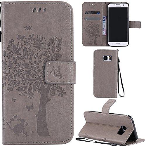 Ooboom® Samsung Galaxy S7 Edge Coque Motif Arbre Chat PU Cuir Flip Housse Étui Cover Case Wallet Portefeuille Support avec Porte-cartes pour Samsung Galaxy S7 Edge - Gris