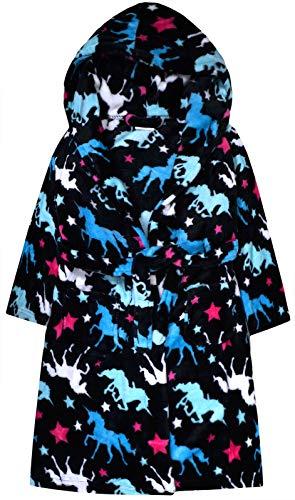 Jolly Rascals - Albornoz con Capucha para niñas, diseño de Unicornio, Color Rosa y Negro, para niños de 7 a 9 a 11 a 13 años Negro Negro (9-10 Años