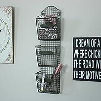 Cestelli della posta-lettere rack Industrial Style cancelleria parete ha appeso Vintage Chic Triple bagagli - Messaggio Cancelleria