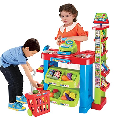 Sentik� Supermarket Kids Market Stall Toy Shop with Shopping Trolley And Play Food