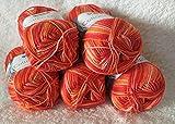 Cotton Quick Gründl Wolle 100 % Baumwolle 50 g Farbe 234- orange multicolor