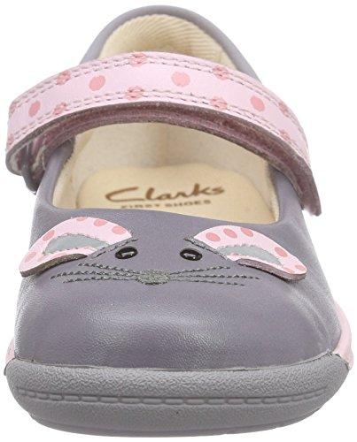 Clarks Kids Iva Pip Fst, Chaussures Bébé marche mixte bébé Gris (Anthracite Lea)